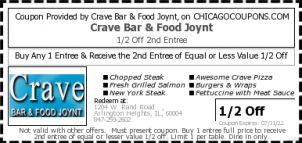 Chicago Coupons | Crave Bar & Food Joynt free printable